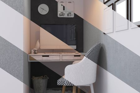 duvet: 3d illustration of bedroom interior design in a contemporary style. Bedroom displayed in the polygon mesh without textures