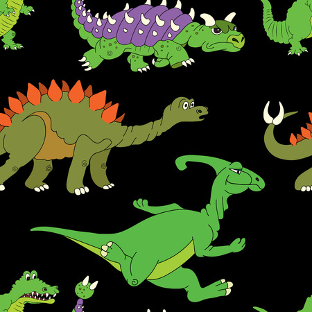 triceratops: Vector illustration of a seamless repeating pattern of dinosaurs. The texture of the fabric for baby clothes