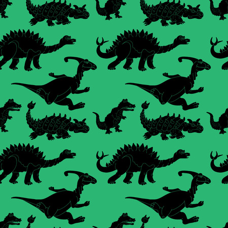 Vector illustration of a seamless repeating pattern of dinosaurs. The texture of the fabric for baby clothes