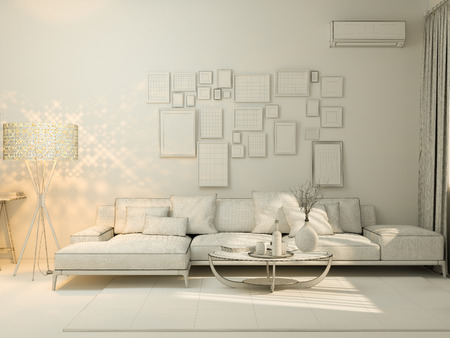 luxury furniture: 3D render of interior design living in a studio apartment in a modern minimalist style. The illustration shows a corner sofa and desk with a laptop and a large floor lamp.
