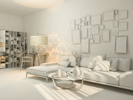 3D Render Of Interior Design Living In A Studio Apartment Modern Minimalist Style