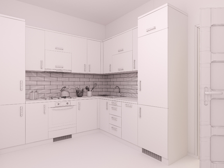 kitchen studio: 3D render of interior design living in a studio apartment in a modern minimalist style. The illustration shows a corner kitchen in polygonal mesh