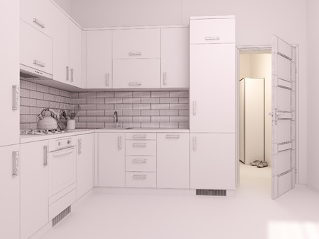 apartment living: 3D render of interior design living in a studio apartment in a modern minimalist style. The illustration shows a corner kitchen in polygon mesh