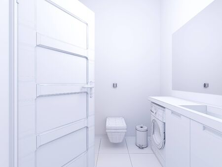 shower curtain: 3d render of interior design bathroom.