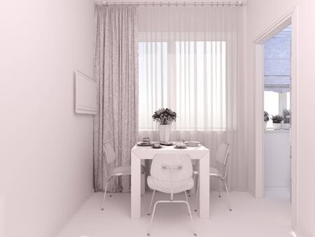 small room: 3D render of interior design living in a studio apartment in a modern minimalist style. The illustration shows a table near a window and a small storage room Stock Photo
