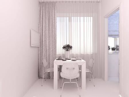 3D Render Of Interior Design Studio Apartment In A Modern Minimalist ...