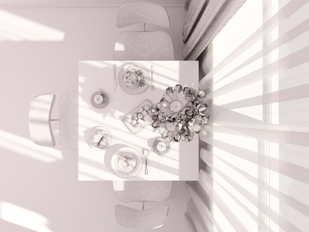 kitchen window: 3D render of interior design kitchen in a studio apartment in a modern minimalist style. The illustration shows a table near a window with flowers and breakfast in polygonal mesh