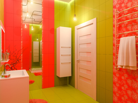 3D illustration of a bathroom interior design for children. Render bathroom picture displayed in green and orange colors.
