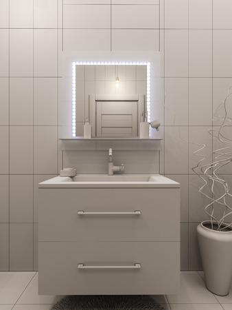 3D illustration of a bathroom interior design for children. Render bathroom picture displayed without textures and shaders
