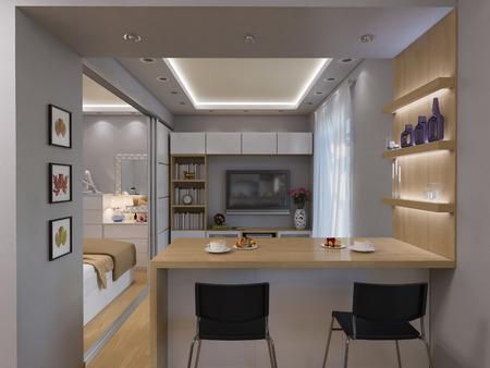3d illustration living room interior design. Modern studio apartment in the Scandinavian minimalist style