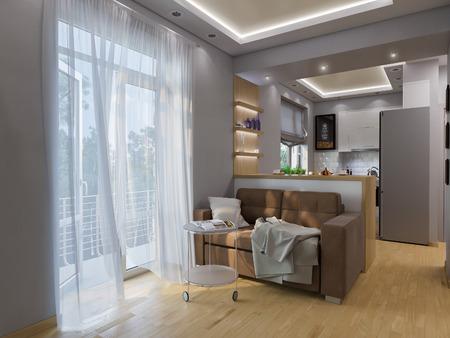 3D-Darstellung Wohnzimmer, Schlafzimmer Und Küche Interieur. Moderne ...