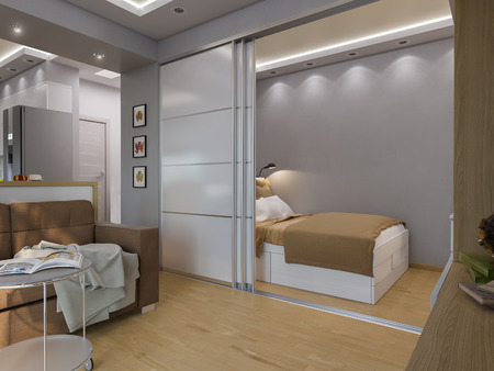 3d illustration living room and bedroom interior design. Modern studio apartment in the Scandinavian minimalist style