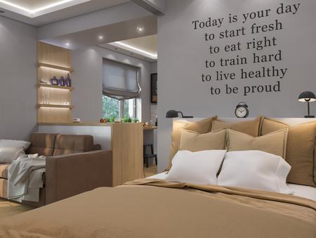 3d illustration living room, bedroom and kitchen interior design. Modern studio apartment in the Scandinavian minimalist style