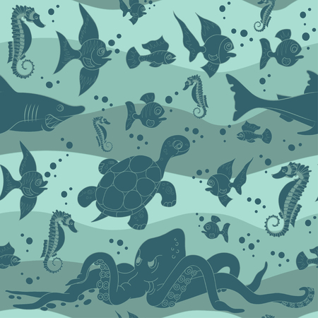 Vector illustration of sea waves with sea life. Seamless repeating pattern.
