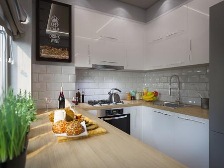 3D-Darstellung Küchendekor Innenarchitektur. Moderne Studio-Apartment im skandinavischen minimalistischen Stil