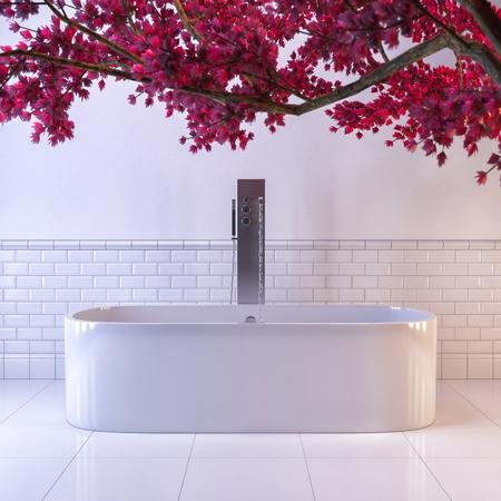 オリエンタル スタイルの白いバスルームの 3 d イラストレーション