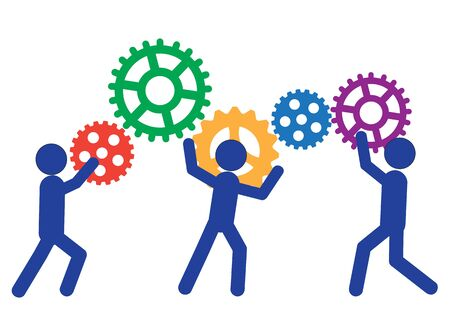 peoples: Peoples are moving gears. Vector illustration of a business concept Illustration