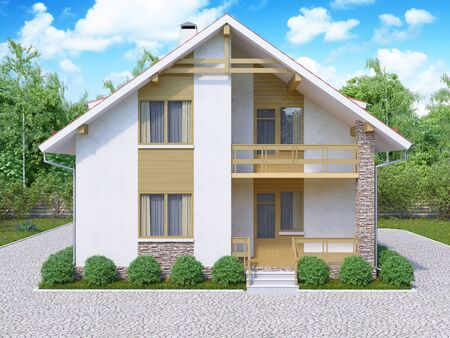 luxury house exterior: 3d illustration of private suburban, two-story house in a modern style. The house with a red roof and white walls in a forest