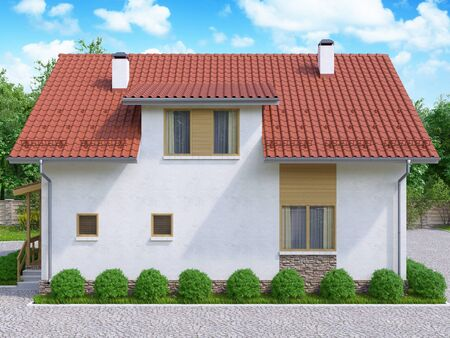 3d illustration of private suburban, two-story house in a modern style. The house with a red roof and white walls in a forest