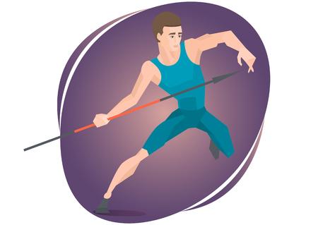 javelin: Vector illustration of an athlete throwing a javelin. Illustration