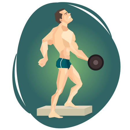 Vector illustration of an athlete weightlifter.