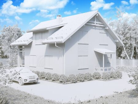 luxury house exterior: 3d illustration of private suburban, two-story house in a modern style. Stock Photo