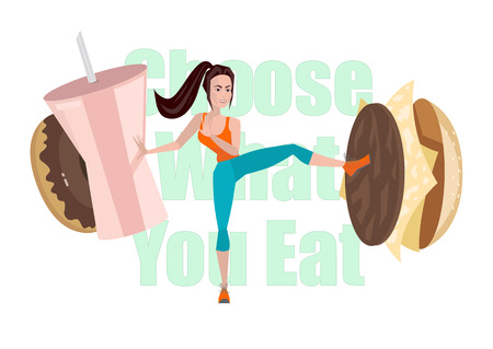 struggling: Vector illustration of Fitness girl struggling with fast food and unhealthy diet. Cartoon woman points on fast food and obesity demonstrates. Concept vector illustration Illustration