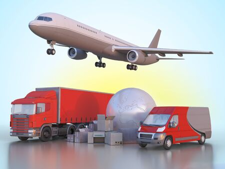 anywhere: 3d illustration delivery and transportation of goods anywhere in the world