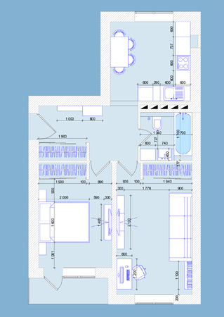 construction plan: Vector illustration plan one-bedroom apartment