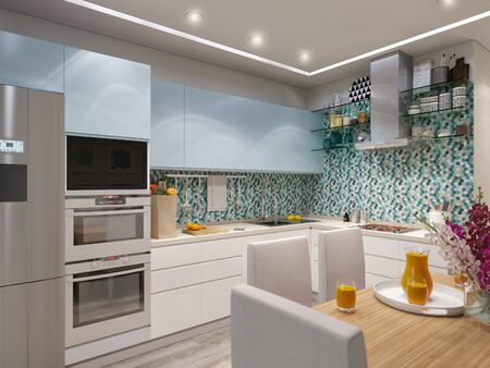 modern kitchen: 3d illustration of modern kitchen with blue and white facades