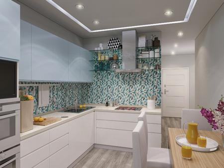 blue white kitchen: 3d illustration design interior of modern kitchen with blue and white facades