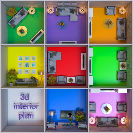 floorplan: 3d illustration of interior design of apartments in the cube Stock Photo