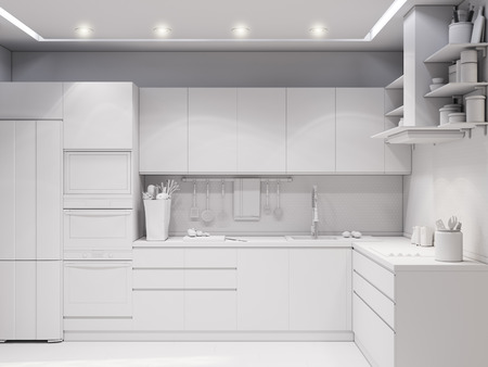 modern kitchen: 3d illustration design interior of modern kitchen without textures
