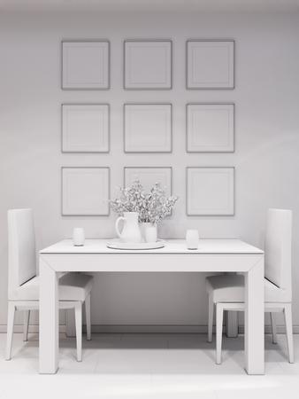 modern kitchen: 3d illustration design interior of modern kitchen without textures