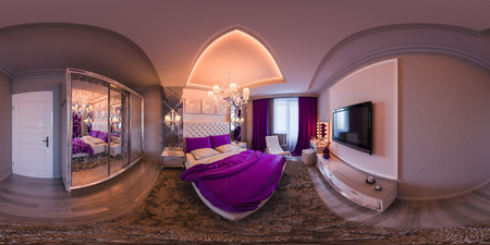 3d illustration spherical 360 degrees, seamless panorama of bedroom interior design. The bedroom is made in white and purple tones in a classic style