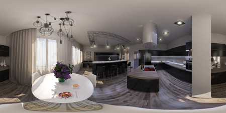 3d illustration spherical 360 degrees, seamless panorama of living room interior design. The living room is made in grey and black tones in a modren style
