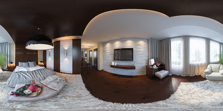3d illustration spherical 360 degrees, seamless panorama of bedroom interior design. The bedroom is made in grey and brown tones in a classic style