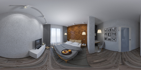 3d illustration spherical 360 degrees, seamless panorama of bedroom interior design. The design of the bedroom is in the Scandinavian style