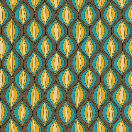 Vector illustration abstract seamless pattern. Repeating retro patern made in brown, yellow and blue tones
