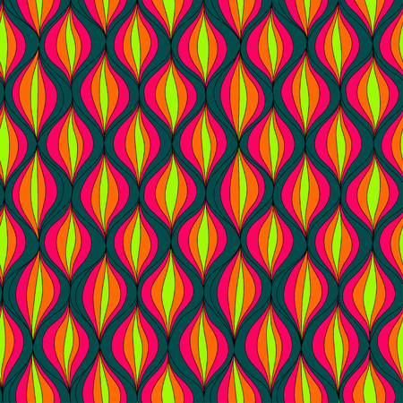 Vector illustration abstract seamless pattern. Repeating retro patern made in green, yellow, orange and pink colors Illustration