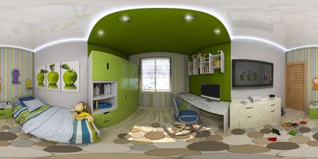 3d illustration 구형 360도, 어린이 룸 인테리어 디자인의 원활한 파노라마. 녹색과 파란색 톤의 어린이 방 설계