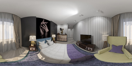 bed room: 3d illustration of interior design spherical 360 degrees, seamless panorama of bedroom Stock Photo