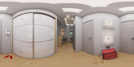 equirectangular: illustration spherical 360 degrees, seamless panorama hallway interior design. Modern studio apartment in the Scandinavian minimalist style Stock Photo