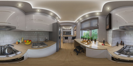 3d illustration spherical 360 degrees, seamless panorama of  living room interior design. Modern studio apartment in the Scandinavian minimalist style Archivio Fotografico