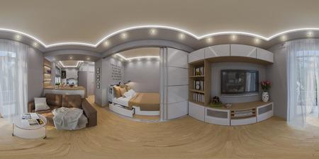 64190303 3d illustratie sferisch 360 graden naadloos panorama van woonkamer en slaapkamer binnenlands ontwerp modern studio appartement in de