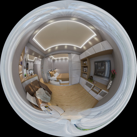 equirectangular: 3d illustration spherical 360 degrees, seamless panorama of  living room interior design. Modern studio apartment in the Scandinavian minimalist style Stock Photo