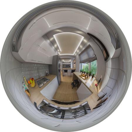 3d illustration spherical 360 degrees, seamless panorama of  living room interior design. Modern studio apartment in the Scandinavian minimalist style Stockfoto