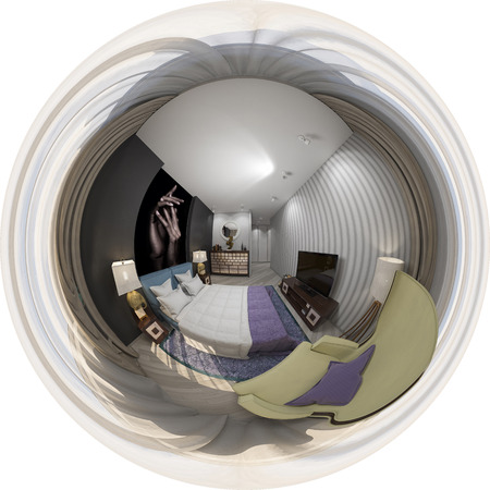 3d illustration of interior design spherical 360 degrees, seamless panorama of bedroom Banque d'images