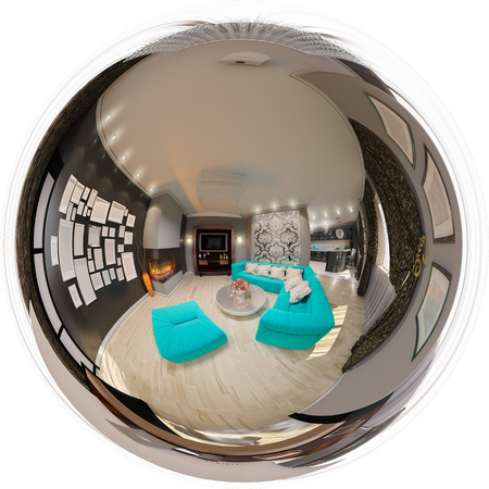 3d illustration spherical 360 degrees, seamless panorama of living room interior design. The design of the living room in the art deco style with turquoise accents