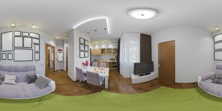 3d illustrazione sferiche a 360 gradi, senza soluzione di continuità panorama di soggiorno e cucina interior design. Moderno monolocale in stile minimalista scandinavo Archivio Fotografico